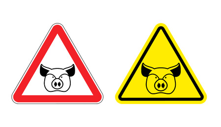 yellow attention: Warning sign pork attention. Dangers yellow sign pig. Farm animal on red triangle. Set of road signs against ham. Attention bacon
