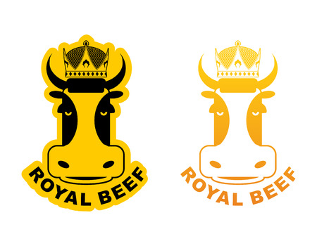 excellent quality: Royal Beef. Cow in crown. Production of meat. Excellent quality and taste of food. Meal for king
