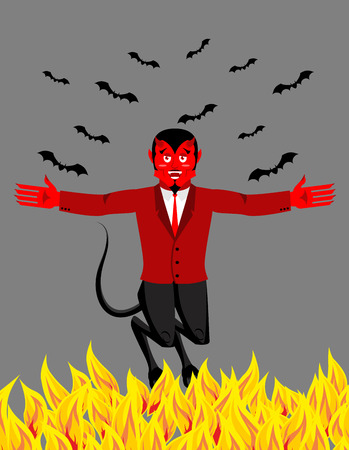 underworld: Red Devil in hell. Funny demon and bat. Satan with horns. Crafty Mephistopheles. Diablo Prince of darkness and underworld. Lucifer Boss. Religious and mythological character, supreme spirit of evil, lord of Hell. Beelzebub laughs Illustration