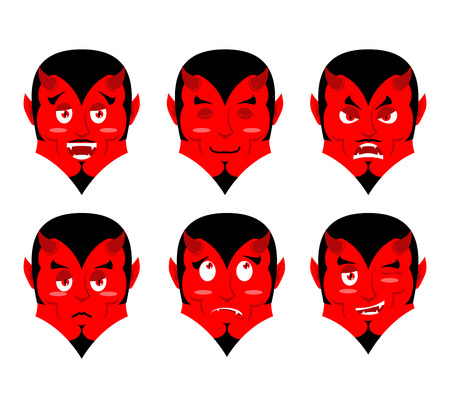 mythological character: Emotions devil. Set expressions avatar Satan. Red Demon good. Lucifer is an evil. Diablo discouraged. Mephistopheles cheerful. Religious and mythological character, supreme spirit of evil. lord of Hell