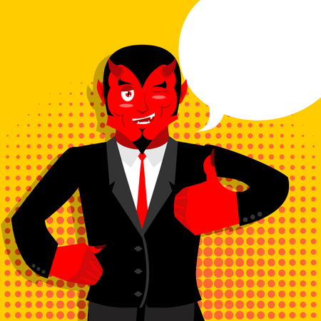 underworld: Satan hands shows thumbs up. Sign all right. Hand showing ok. style of pop art  Bubble for text. Gesture of  hand. Funny demon. Heck with horns. Crafty devil. Beelzebub Prince of darkness and underworld. Lucifer Boss. Religious and mythological character,