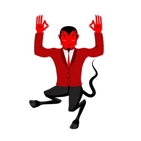 mythological character: Devil does yoga. Red demon in lotus position. Happy Satan. Mefistofil prince of darkness and the underworld. Lucifer boss with horns. Religious and mythological character,  supreme spirit of evil. Diablo Lord of Hell.