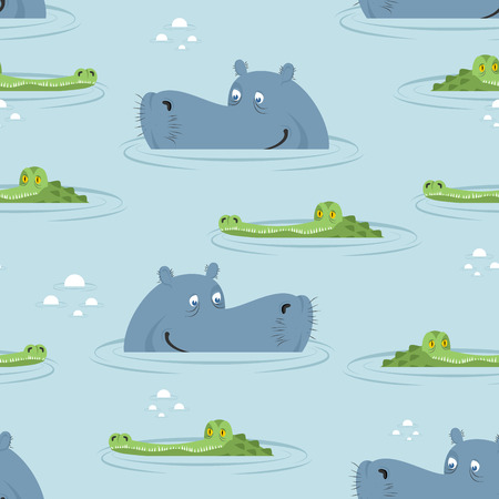 Hippo and crocodile in water seamless pattern. Good hippopotamus and alligator in swamp texture. Ornament for baby cloth. African animal ornament