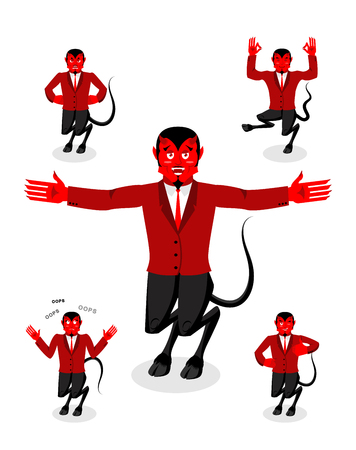 lucifer: Devil set of poses. Satan set of movements. Horned demon expression of emotion. Diablo religious-mythological character, supreme spirit of evil. Lucifer, lord of Hell