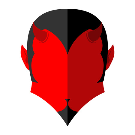 underworld: Red Devil  icon. Demon sign flat style. Heck with horns. Crafty Satan.  Prince of darkness and underworld. Lucifer Boss. Religious and mythological character, supreme spirit of evil, lord of Hell. Beelzebub  and Mephistopheles