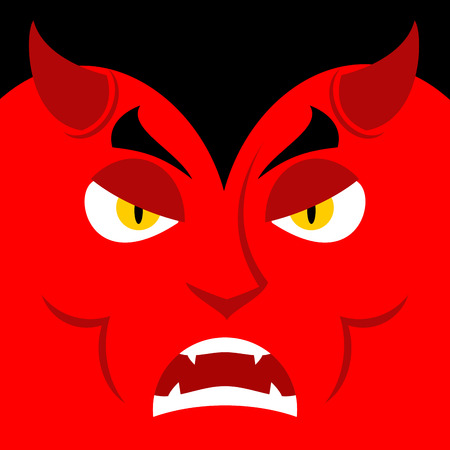 mythological character: Evil Satan. Angry emotion Devil. Unhappy with demon frowning. Aggressive Lucifer. Prince of darkness and underworld. Religious and mythological character, supreme spirit of evil. Diablo Lord of Hell