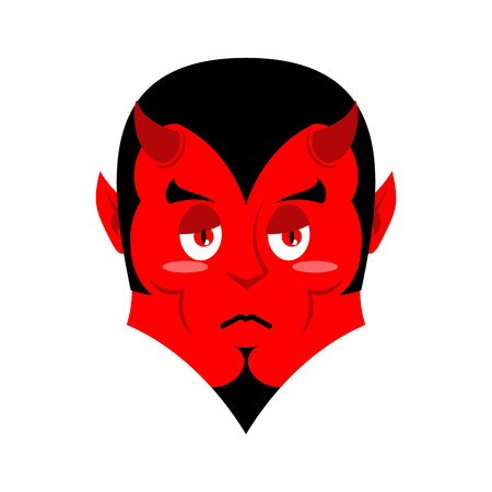 miserable: Sad Satan. Sorrowful red devil. Pessimistic demon. Pitiful face. Mournful miserable devil with horns. Mephistopheles prince of darkness and underworld. Religious and mythological character, supreme spirit of evil. Diablo Lord of Hell