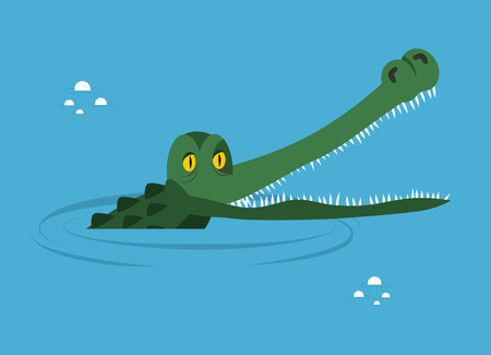 Crocodile in water. large alligator in swamp. Cute caimans head in  water basin. Wild African animal. Big water reptiles. Huge African predator. Tropical aggressive beast Illustration