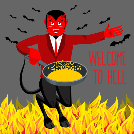 underworld: Welcome to Hell. Devil holding frying pan for sinners. Satan invites in purgatory. Red demon with horns and tail. Lucifer boss with horns. Religious and mythological character,   supreme spirit of evil. Diablo lord of underworld. Illustration
