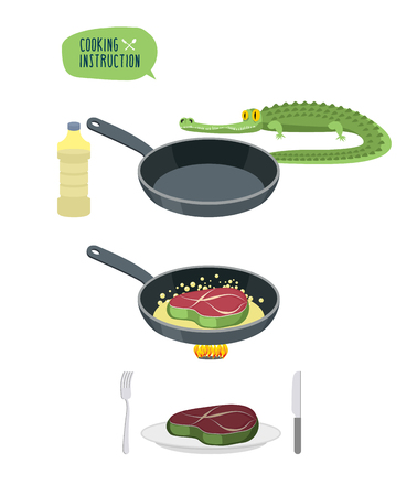 delicacy: Crocodile steak cooking Instructions. Recipe for chop in frying pan. Frightened alligator. Roasted flesh reptiles. Step by step exotic delicacy Illustration