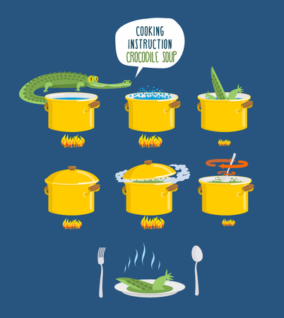 delicacy: Crocodile Soup on cooking instruction. Step-by-step cooking delicacy. Bouillon alligator. Infographics food culinary. Set pan - kitchen utensils. Catering for gourmets. Japanese exotic delicacy