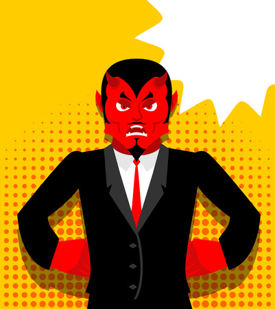 infernal: Angry devil. Satan is not happy. Angry red Demon. Lucifer is furious. Lord of Hell in pop art style. Bubble for text