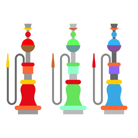 mouthpiece: Set colorful arabic hookah. Turkish national instrument for smoking. Egyptian Container with liquid and mouthpiece Illustration