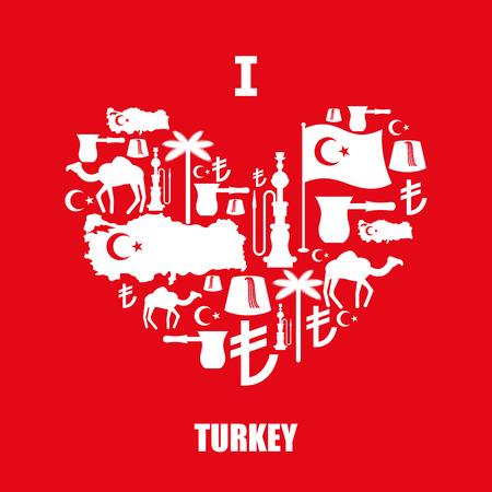 Firmar Corazón De Personajes Populares Tradicionales Turcos.  Correspondencia E Indicador De País. Turk Y Liras Símbolo De Turquía.  Camellos Y Palmeras. Fez ... 16563da1f7e