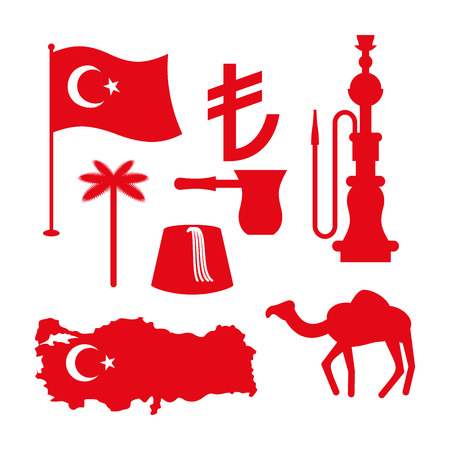 lira: Turkey symbol set. Turkish national icon. State traditional sign. Map and flag of country. Turk and Turkish lira sign. Camels and palm trees. Fez and hookah. Turkish National Patriotic attraction