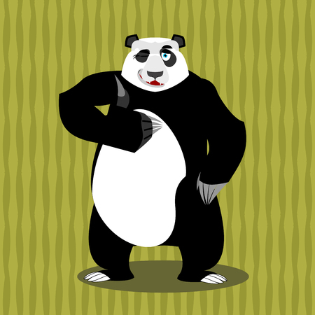 all right: Panda thumb up and winks. Chinese bear all good. Signs all right. Hand showing ok. Gesture of hand. Good happy wild animal and background of bamboo. forest beast