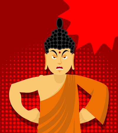 wrathful: Angry Buddha in pop art style. Indian god wrathful. Supreme teacher for Buddhists. Holy man in orange robes