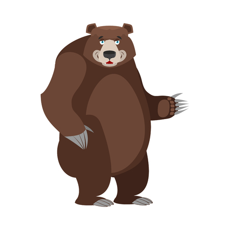 hind: Bear in white background. Good happy wild animal. Forest beastl with brown fur. Big grizzly isolated. Large power predator standing on hind legs Illustration