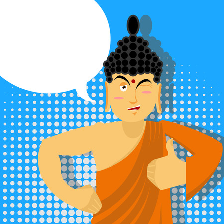 Buddha Thumbs up in pop art style. Indian god. Sign all right. Hand showing ok. Gesture of hand.  Supreme teacher for Buddhists. Holy man in orange robes Illustration