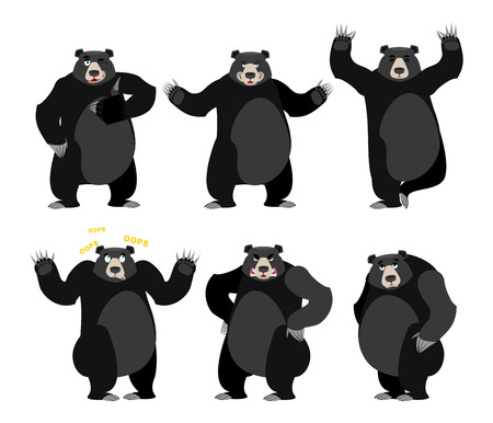 black american: Baribal American black bear set. Grizzly various poses. Expression of emotions. Wild animal yoga. Evil and the good. Sad and happy animal. Large predator strong thumbs up Illustration