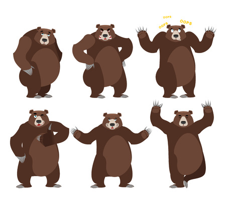 Bear set on white background. Grizzly various poses. Expression of emotions. Wild animal yoga. Eevil and good. Sad and happy animal. Big strong predator thumbs up Illustration