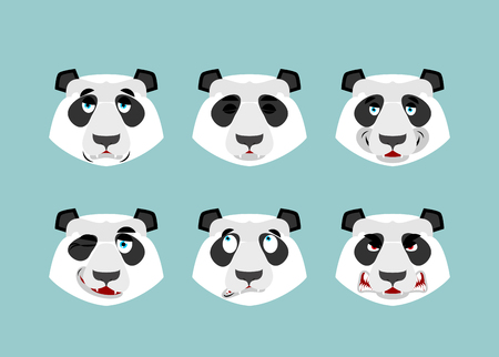 Panda emotion. Set expressions avatar Chinese bear. Animal good and evil. Beast discouraged and cheerful