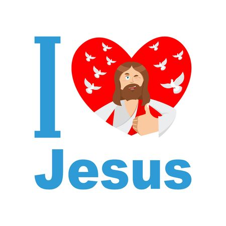 savior: I love Jesus. Symbol of heart and Son of God. Biblical characters. Holy man. Religious sign for believers. Christ Catholic and Christian hero savior