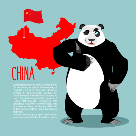 Panda and map and flag of China. Chinese medvde showing thumbs up and winking. Good animal sign okay.