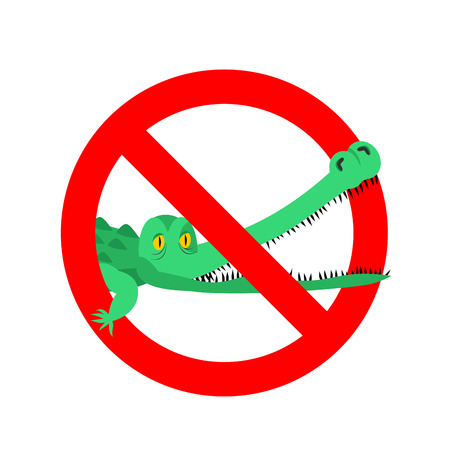 caiman: Stop crocodile. Prohibited alligator. Strikethrough caiman. Emblem against predator reptile. Red prohibition sign. Ban wild aggressive amphibian Illustration