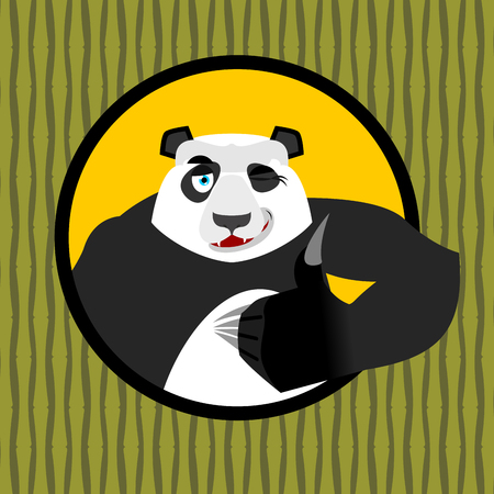 all ok: Panda thumb up and winks. Chinese bear all good. Signs all right. Hand showing ok. Gesture of hand. Good happy wild animal and background of bamboo. forest beast