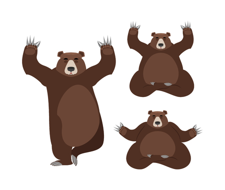 Bear meditates. Wild animals on white background. Status of nirvana and enlightenment. Lotus Pose. Beast yoga Illustration