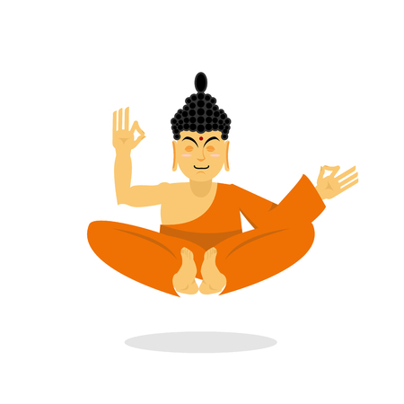 buddha lotus: Buddha meditating isolated. Indian god on white background. Status of nirvana and enlightenment. Lotus Pose.  Supreme teacher for Buddhists. asian yoga. Holy monk in an orange robe