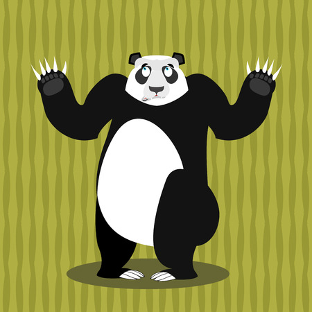 struck: Surprised panda OOPS. Perplexed Chinese bear. Struck by a wild animal. With wide-eyed animal