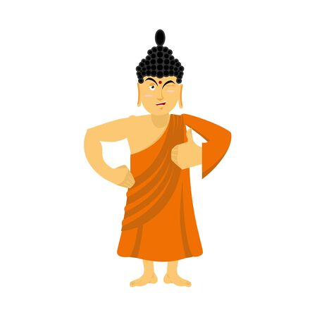 all right: Buddha Thumbs up and winks. Indian god shows well. Sign all right. Hand showing ok. Gesture of hand. Supreme teacher for Buddhists. Holy man in orange robes