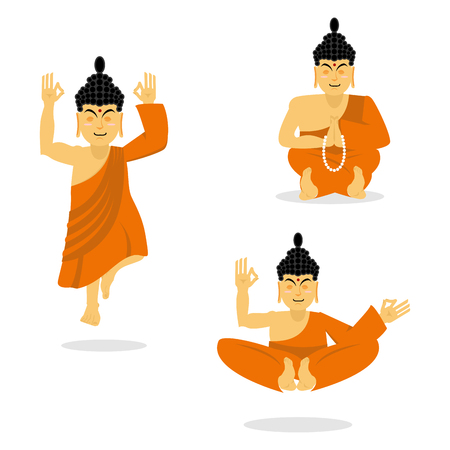 ancient yoga: Buddha meditating isolated. Indian god on white background. Status of nirvana and enlightenment. Lotus Pose.  Supreme teacher for Buddhists. asian yoga. Holy monk in an orange robe