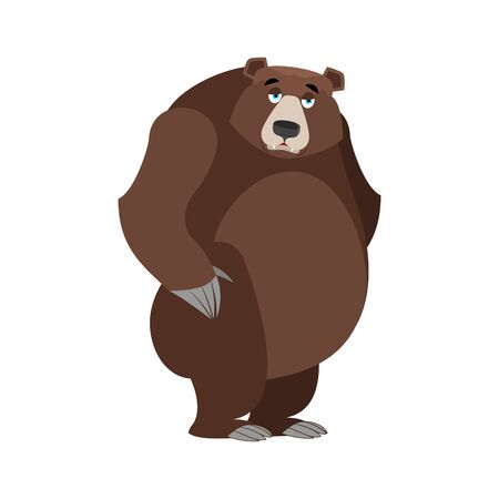 Sad bear. mournful Grizzly. tragic wild animal. Large forest bored beast Illustration