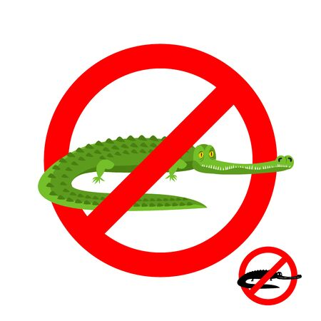 warned: Stop crocodile. Prohibited alligator. Strikethrough caiman. Emblem against predator reptile. Red prohibition sign. Ban wild aggressive amphibian Illustration