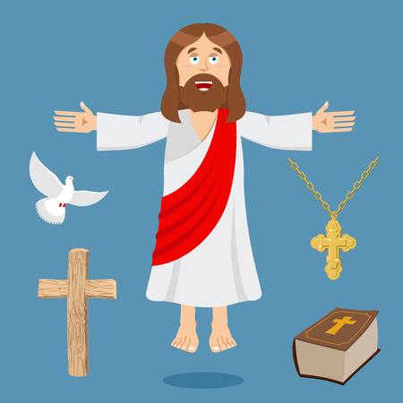 savior: Jesus and accessories. Holy biblical set. Son of God and Bible. Cross and white dove. Religious sign for believers. Christ Catholic and Christian hero savior