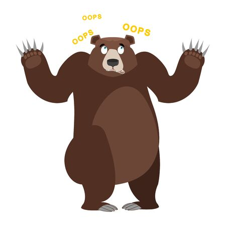 ooops: Surprised Bear OOPS. Grizzly perplexed. Struck by wild big animal. With wide-eyed beast