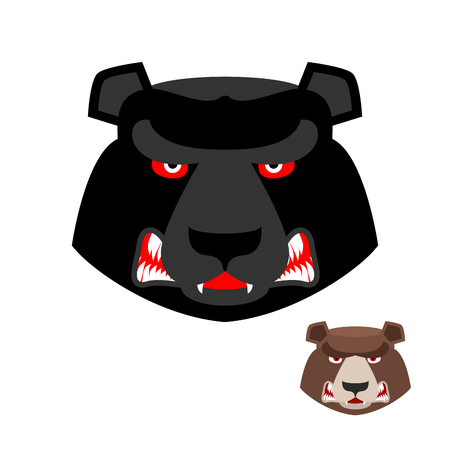 ferocious: Angry bear head. Aggressive Grizzly on white background. Wild evil animal. Large ferocious predator. Forest  brutal strong beast