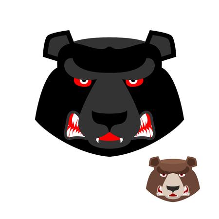 testa di orso arrabbiato. Aggressivo Grizzly su sfondo bianco. Animali selvatici male. Grande feroce predatore. Foresta brutale forte bestia