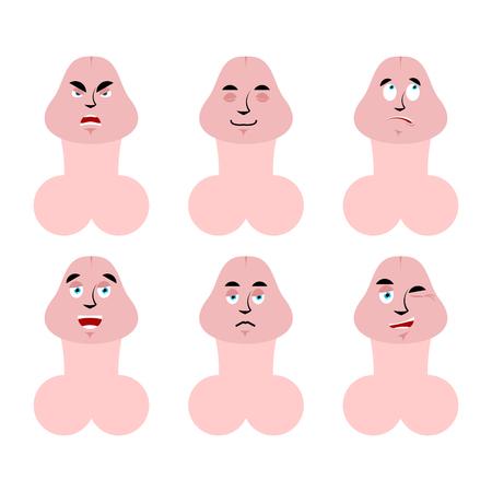 Emoties penis. Stel uitdrukkingen avatar-lid in. goed en slecht. ontmoedigd en opgewekt. Verdrietig en slaperig