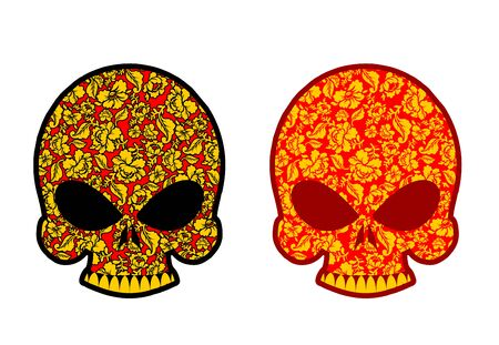 khokhloma: Skull in Khokhloma style. Head skeleton texture Russian national painting