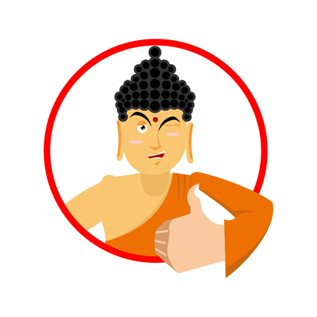 all right: Buddha Thumbs up and winks. Indian god. Sign all right. Hand showing ok. Gesture of hand.  Supreme teacher for Buddhists. Holy man in orange robes