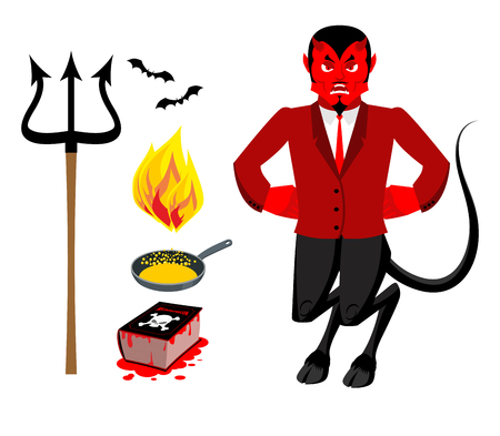 satanic: Devil and accessories. Satanic set. Trident and hellfire. Black bats. Frying pan for sinners. Necronomicon magic Book of Dead. Red Demon. Prince of darkness and underworld. Lucifer Boss. Religious and mythological character, supreme spirit of evil.