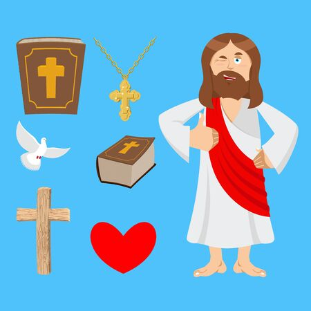 Jesus and accessories. Holy biblical set. Son of God and Bible. Cross and white dove. Religious sign for believers. Christ Catholic and Christian hero savior