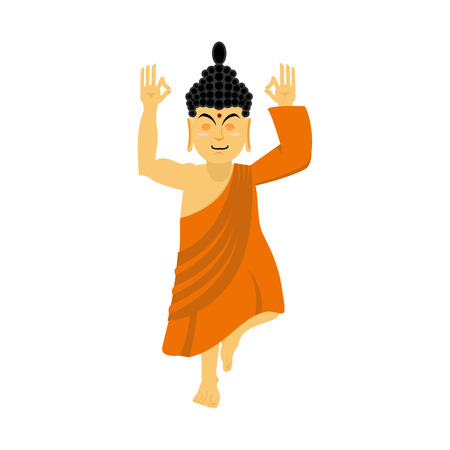 nirvana: Buddha meditating isolated. Indian god on white background. Status of nirvana and enlightenment. Lotus Pose.  Supreme teacher for Buddhists. asian yoga. Holy monk in an orange robe