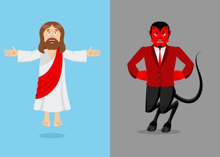 Jesus and devil. Christ and Satan. Son of God and demon Lucifer. Holy man and prince of  underworld. Religious antagonists, spiritual opponents