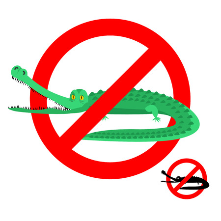 strikethrough: Stop crocodile. Prohibited alligator. Strikethrough caiman. Emblem against predator reptile. Red prohibition sign. Ban wild aggressive amphibian Illustration