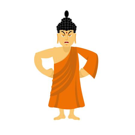 Angry Buddha fuus. Indiase god toornige. Supreme leraar voor Boeddhisten. Heilige man in oranje gewaden